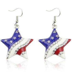 patriotic USA star earrings red white blue